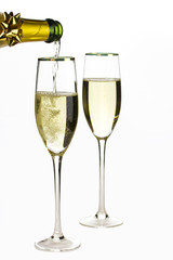 Champagne in the glasses isolated on a white background