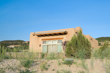 Modern Spanish Pueblo Revival House, Suburban Santa Fe, NM, USA