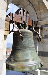 Bronze bell on top of the Leaning Tower of Pisa, Italy