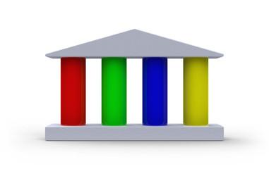 Haus mit vier Säulen