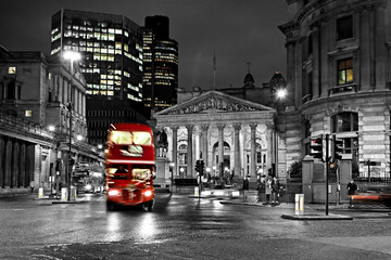 Spoed Foto op Canvas Londen rode bus Royal Exchange London