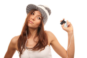 Young Girl Listening to dance music headphones