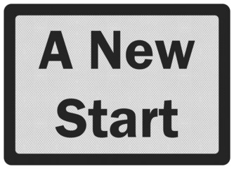 Photo realistic 'new start' sign, isolated on white