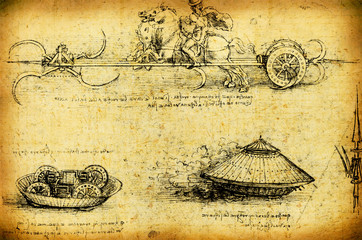 Leonardo's Da Vinci engineering drawing