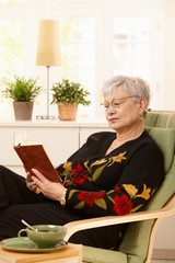 Female pensioner reading at home