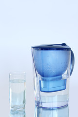 Water filter on a light blue background
