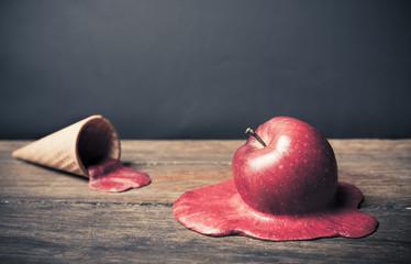 coneptual image of apple Ice Cream Cone on The Floor