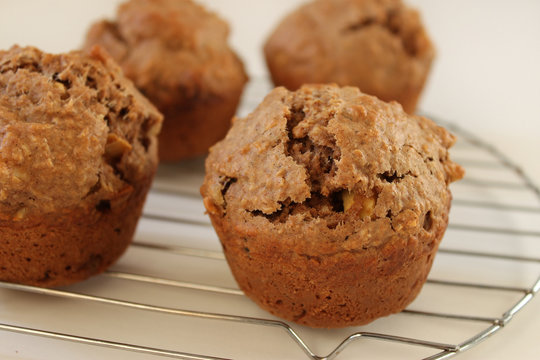 Healthy muffins cooling on a rack