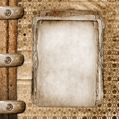 Framework for greeting or invitation. The grunge wooden backgrou