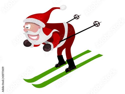 Image Pere Noel En Ski.Pere Noel Sur Ces Ski Stock Image And Royalty Free Vector