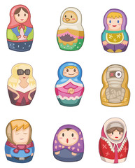 cartoon Russian dolls icon