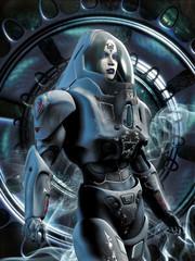 Wall Mural - futuristic girl in spacesuit