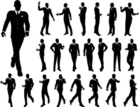 Set of high quality silhouettes of  the businessmen