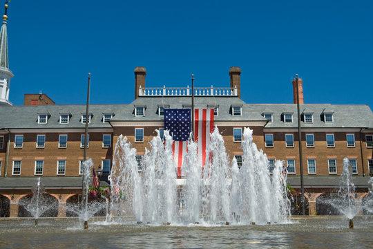 Colonial City Hall Alexandria Virginia American Flag Fountain