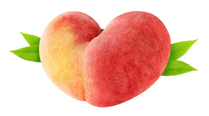 Isolated peach. Heart shaped peach fruit with leaves isolated on white background