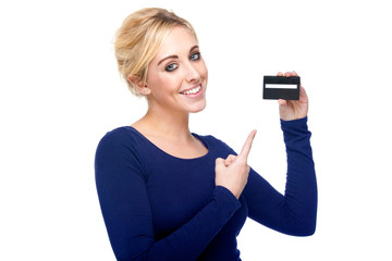 Attractive Woman Pointing at Credit Card