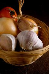 set of nutrition food in basket