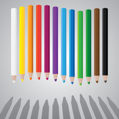 drawing color pencils in wave - illustration