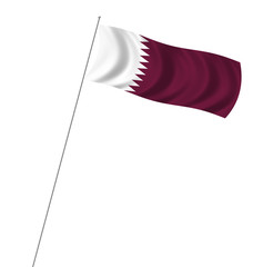 Flag of Qatar with pole flag waving over white background