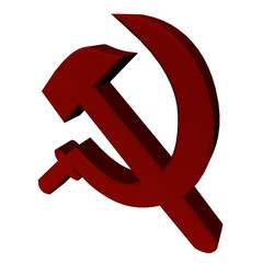 red hammer and sickle in 3D