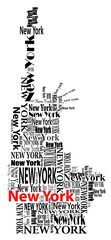 abstract statue of liberty with words New York