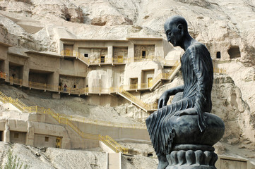 Buddha sculpture at the famous grottoes in Sinkiang
