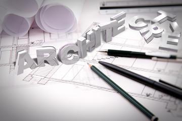 Blueprint and pencil / 3D font