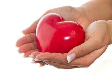 Female hands holding shiny heart