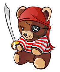 Foto op Plexiglas Piraten Pirate Teddy Bear
