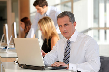 Mature businessman working on laptop computer