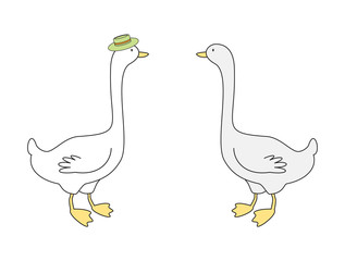 Vector illustration of two gooses
