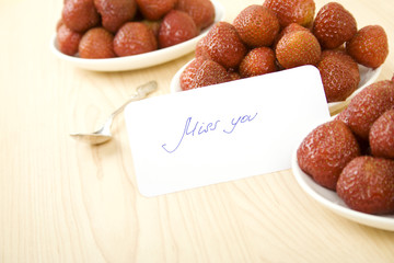 Strawberries with card miss you