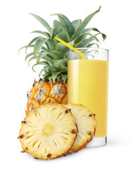 isolated drink. Glass of pineapple juice with a straw and slices of pineapple isolated on white background