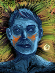 illustrated man with a sad blue face
