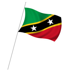 Flag of Saint Kitts Nevis with pole flag