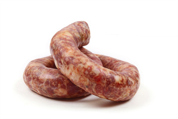 Home sausage isolated on white background