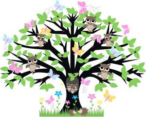 a tree full of animals