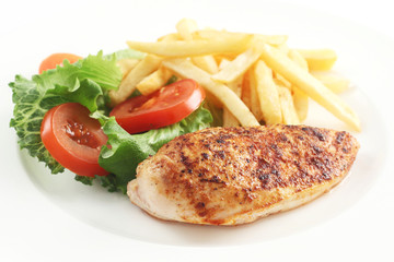Chicken Breast with Salad and Chips