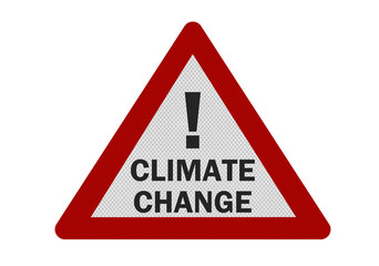Photo realistic 'climate change' sign, isolated on white