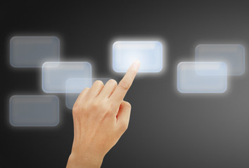 hand pushing on a touch screen interface