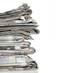 pile of news paper over white background