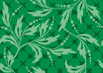 vector seamless green texture with plants