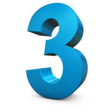 Chiffre 3 3d bleu
