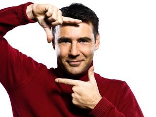 caucasian man finger frame gesture