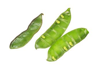 Green bean Pods On White Background