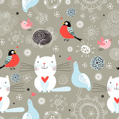 Printed kitchen splashbacks Cats Seamless pattern of the cats and birds