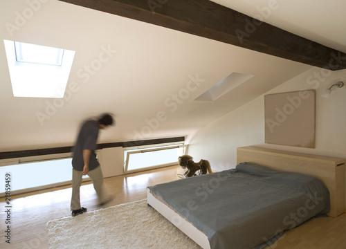 camera da letto mansardata immagini e fotografie royalty free su file 28859459. Black Bedroom Furniture Sets. Home Design Ideas