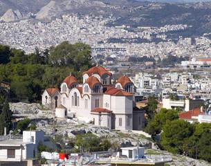 Agia Marina, st. Marei church view from Acropolis, Athens Greece