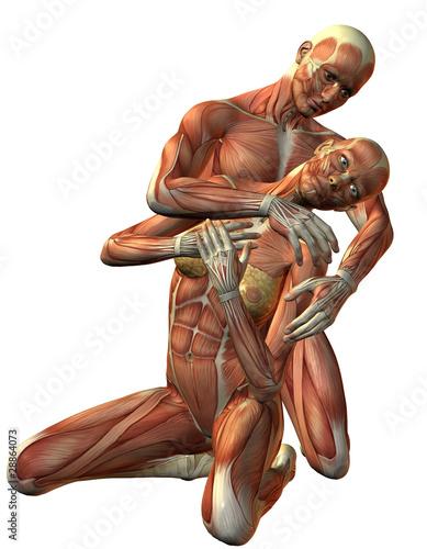 Muskel Mann und Frau kniend\