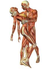 Wall Mural - Muskel Frau und Mann stehend